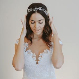 ivette bridal headband maria elena headpieces model-side